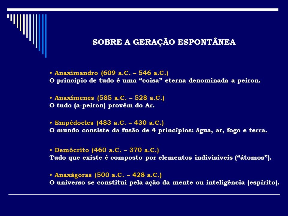 SOBRE A GERAÇÃO ESPONTÂNEA