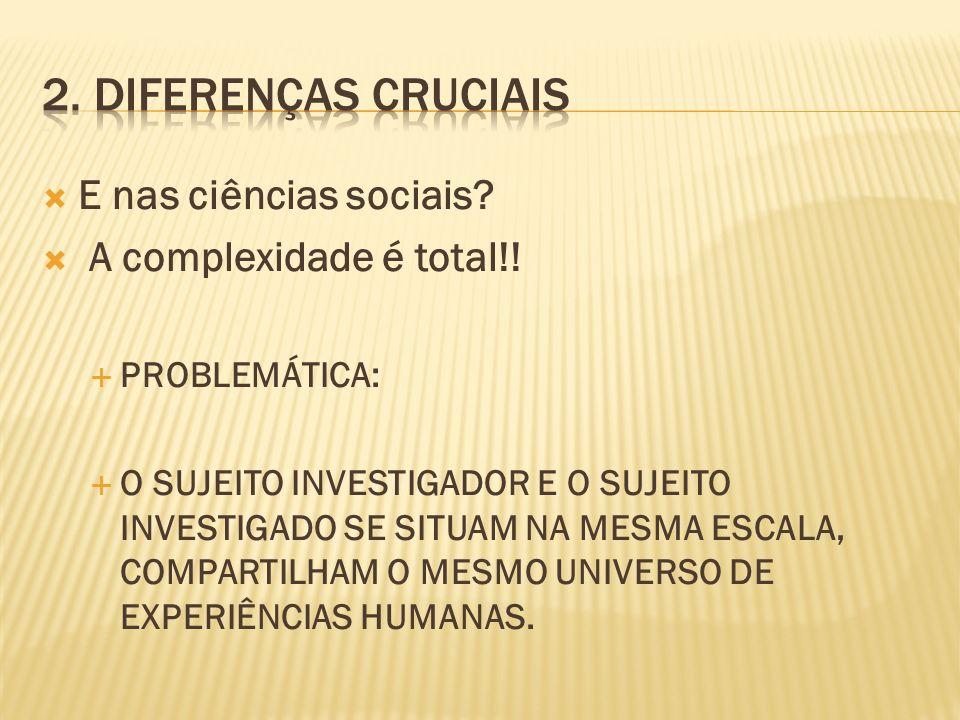 2. Diferenças cruciais E nas ciências sociais