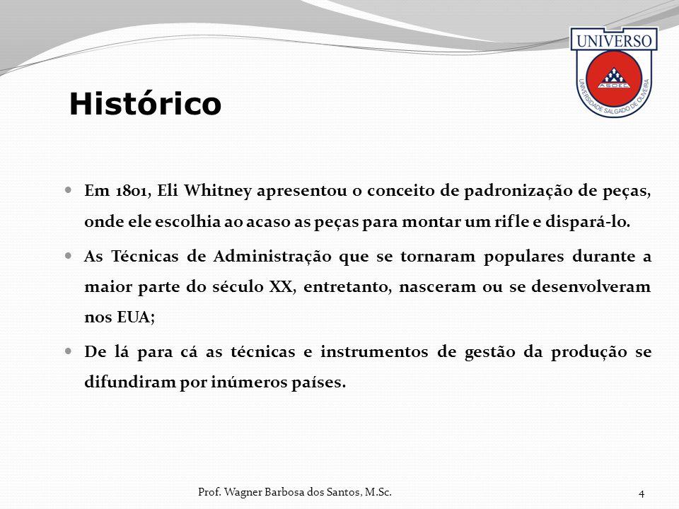Histórico Em 1801, Eli Whitney apresentou o conceito de padronização de peças, onde ele escolhia ao acaso as peças para montar um rifle e dispará-lo.