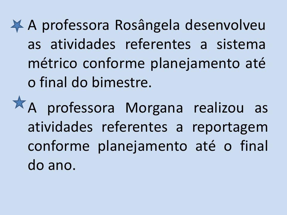 A professora Rosângela desenvolveu as atividades referentes a sistema métrico conforme planejamento até o final do bimestre.