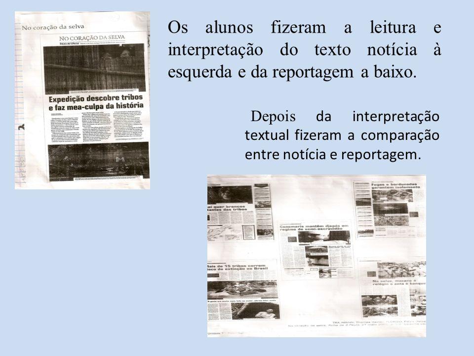 Os alunos fizeram a leitura e interpretação do texto notícia à esquerda e da reportagem a baixo.