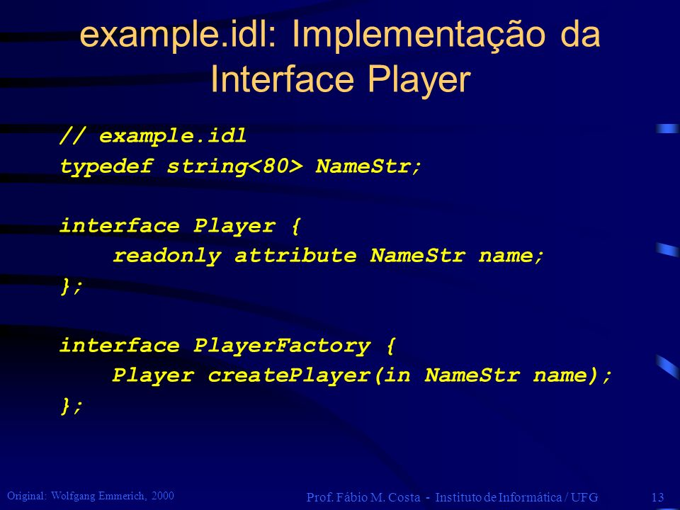 example.idl: Implementação da Interface Player