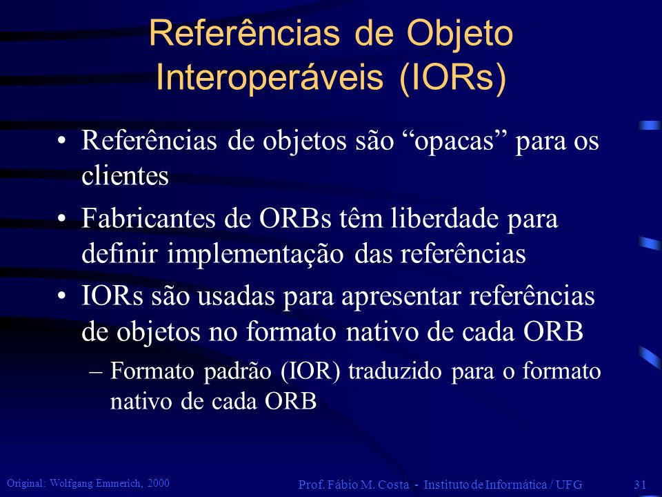 Referências de Objeto Interoperáveis (IORs)