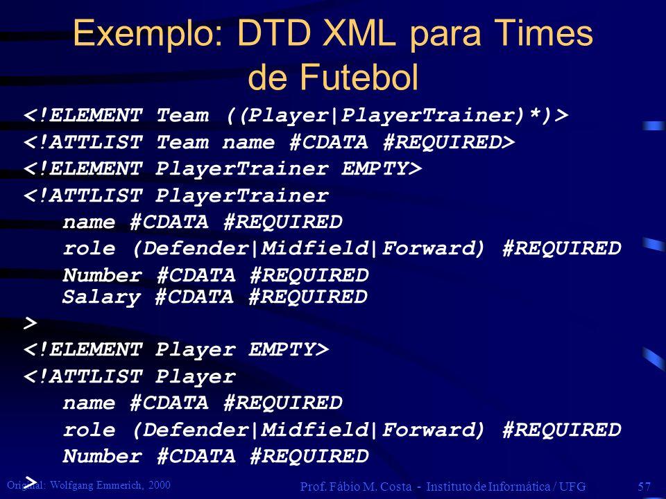 Exemplo: DTD XML para Times de Futebol