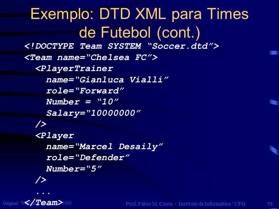 Exemplo: DTD XML para Times de Futebol (cont.)