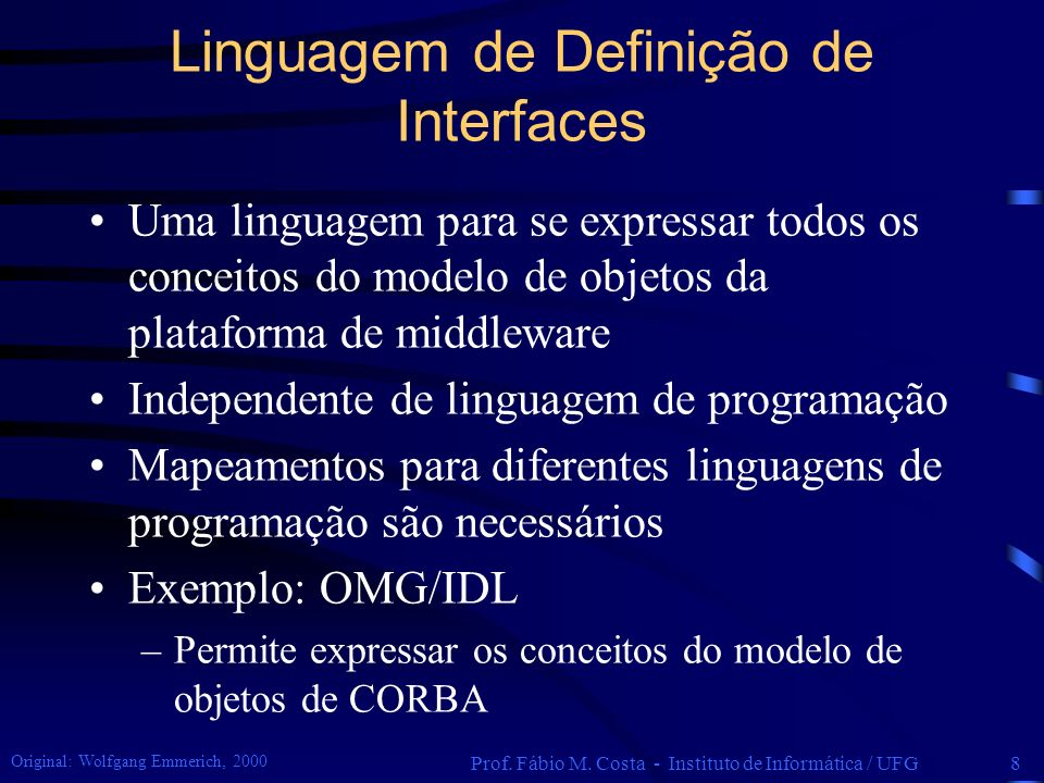Linguagem de Definição de Interfaces