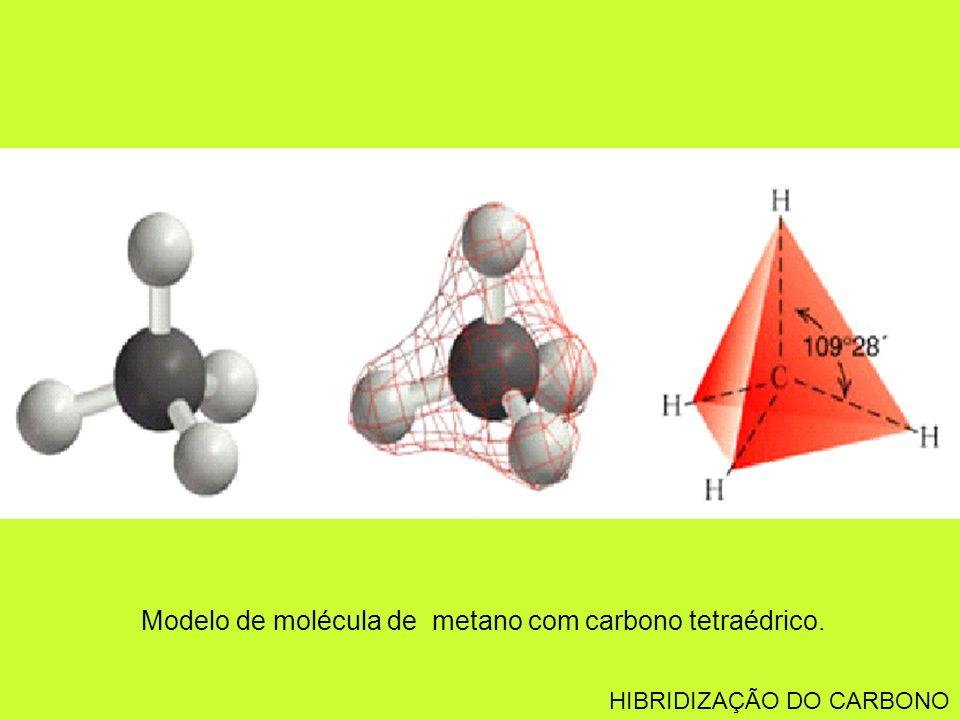 Modelo de molécula de metano com carbono tetraédrico.