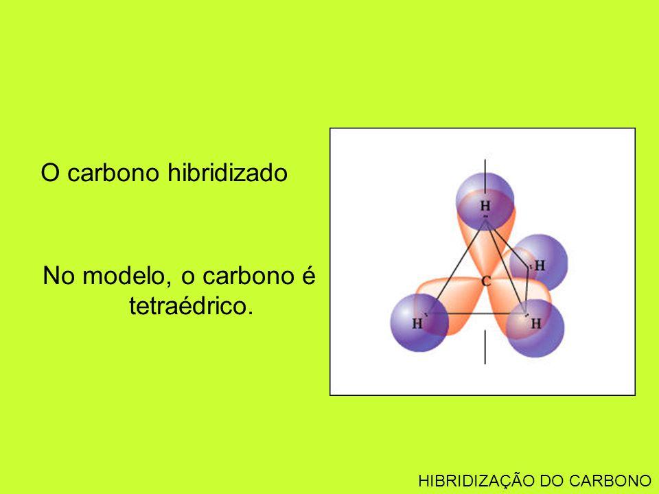 No modelo, o carbono é tetraédrico.