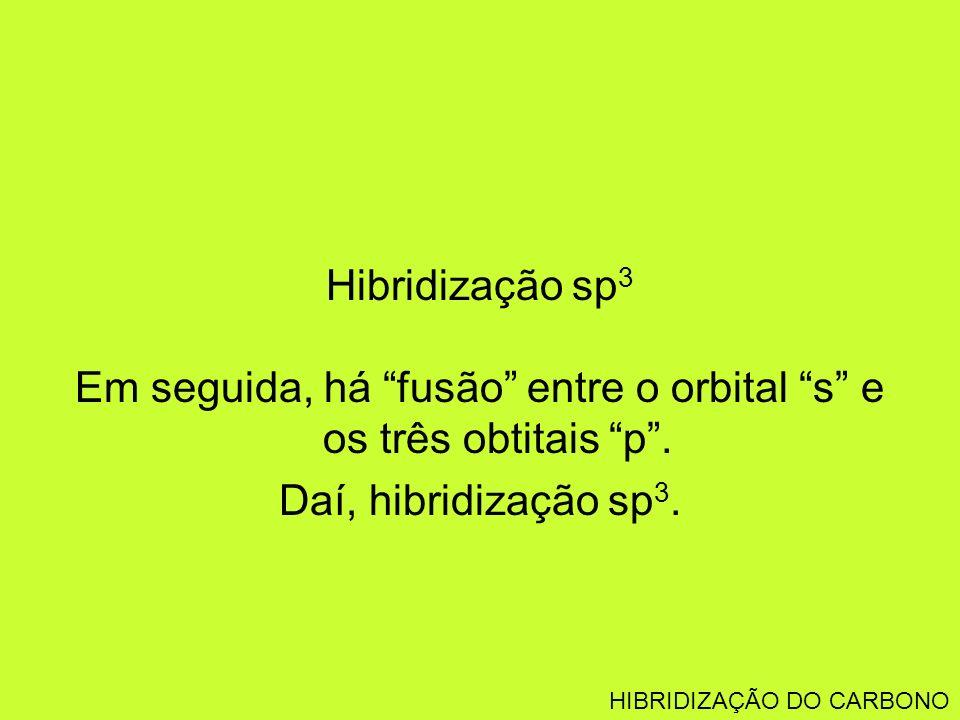 Em seguida, há fusão entre o orbital s e os três obtitais p .