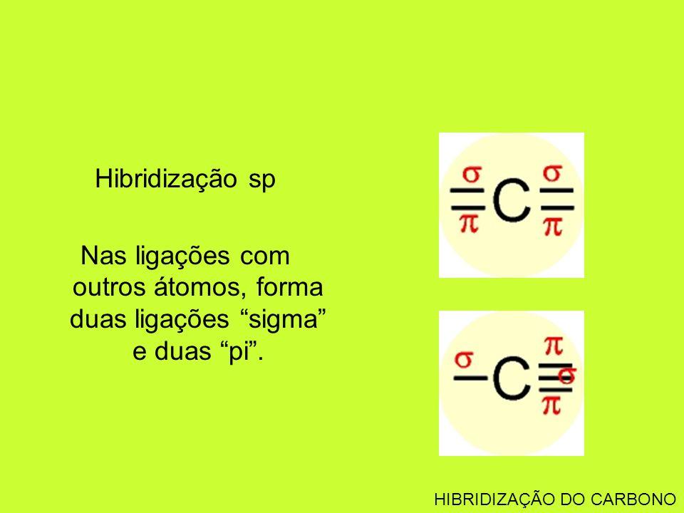 Hibridização sp Nas ligações com outros átomos, forma duas ligações sigma e duas pi .