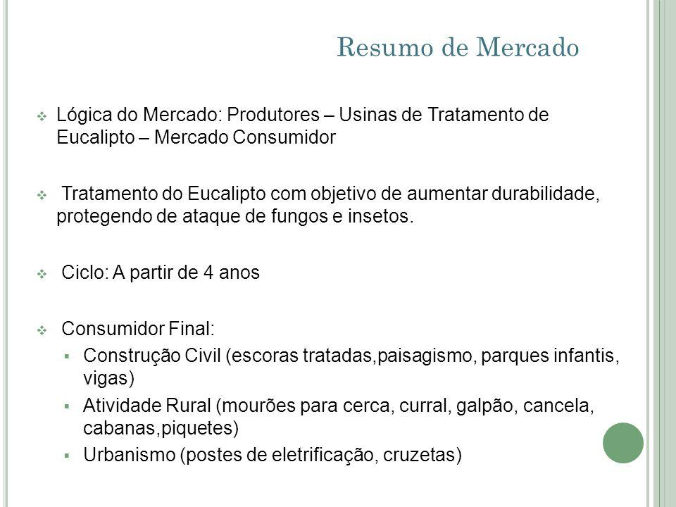 Resumo de MercadoLógica do Mercado: Produtores – Usinas de Tratamento de Eucalipto – Mercado Consumidor.