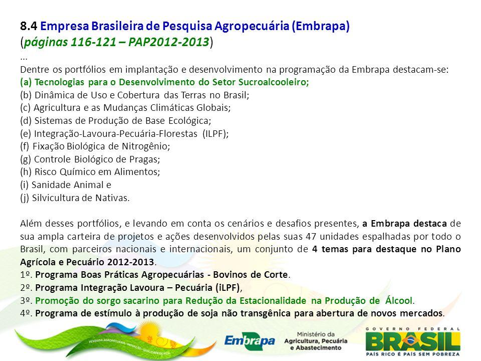 8.4 Empresa Brasileira de Pesquisa Agropecuária (Embrapa)