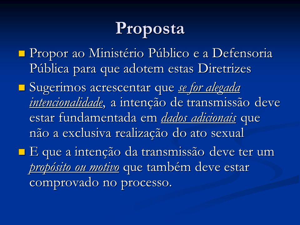 Proposta Propor ao Ministério Público e a Defensoria Pública para que adotem estas Diretrizes.