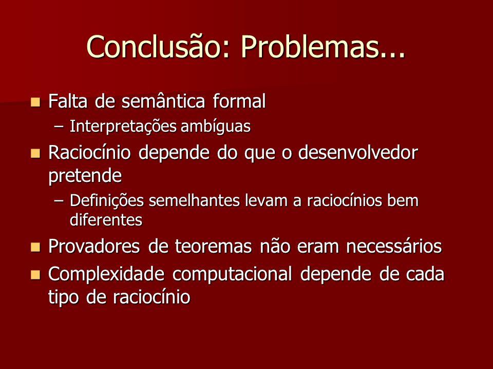 Conclusão: Problemas... Falta de semântica formal