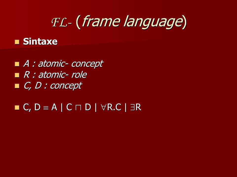 FL- (frame language) Sintaxe A : atomic- concept R : atomic- role