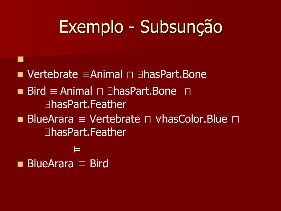 Exemplo - Subsunção