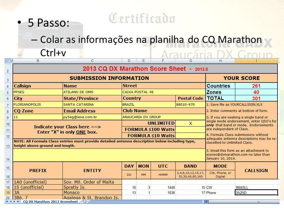 5 Passo: Colar as informações na planilha do CQ Marathon Ctrl+v