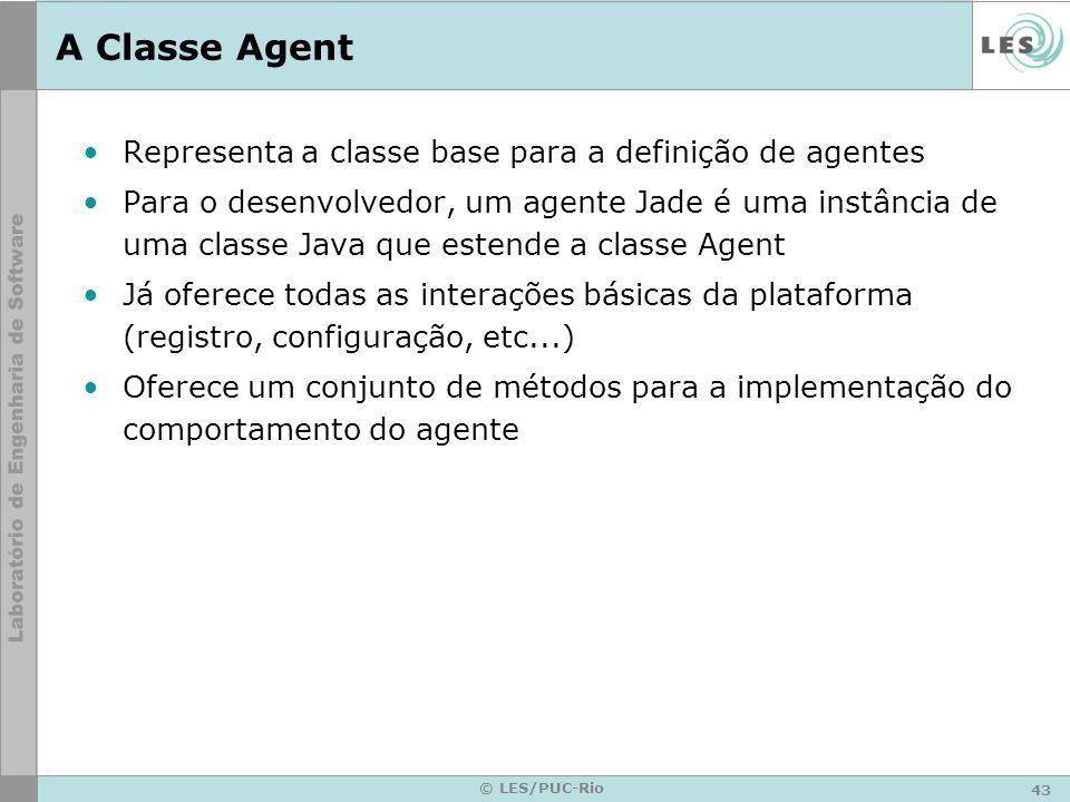 A Classe Agent Representa a classe base para a definição de agentes