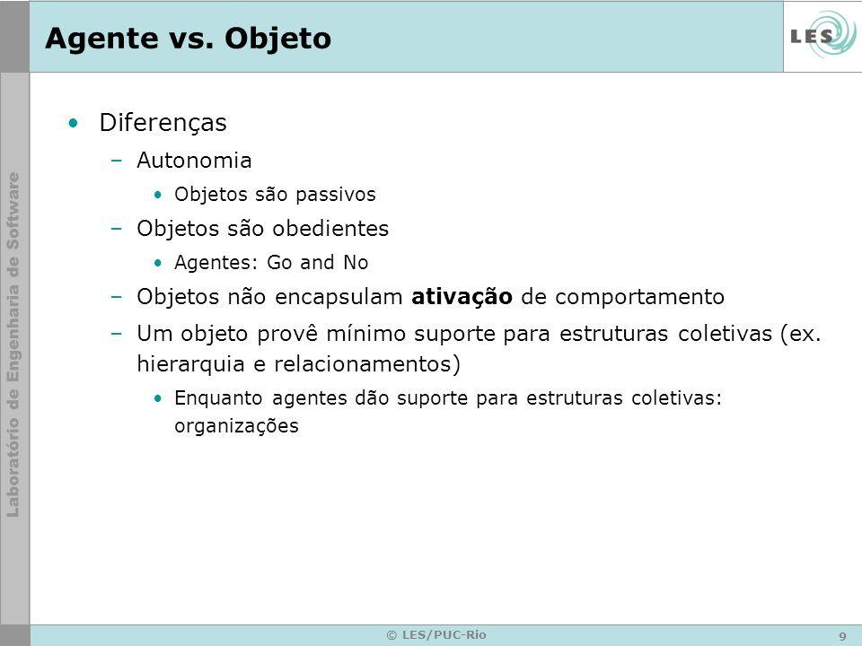 Agente vs. Objeto Diferenças Autonomia Objetos são obedientes