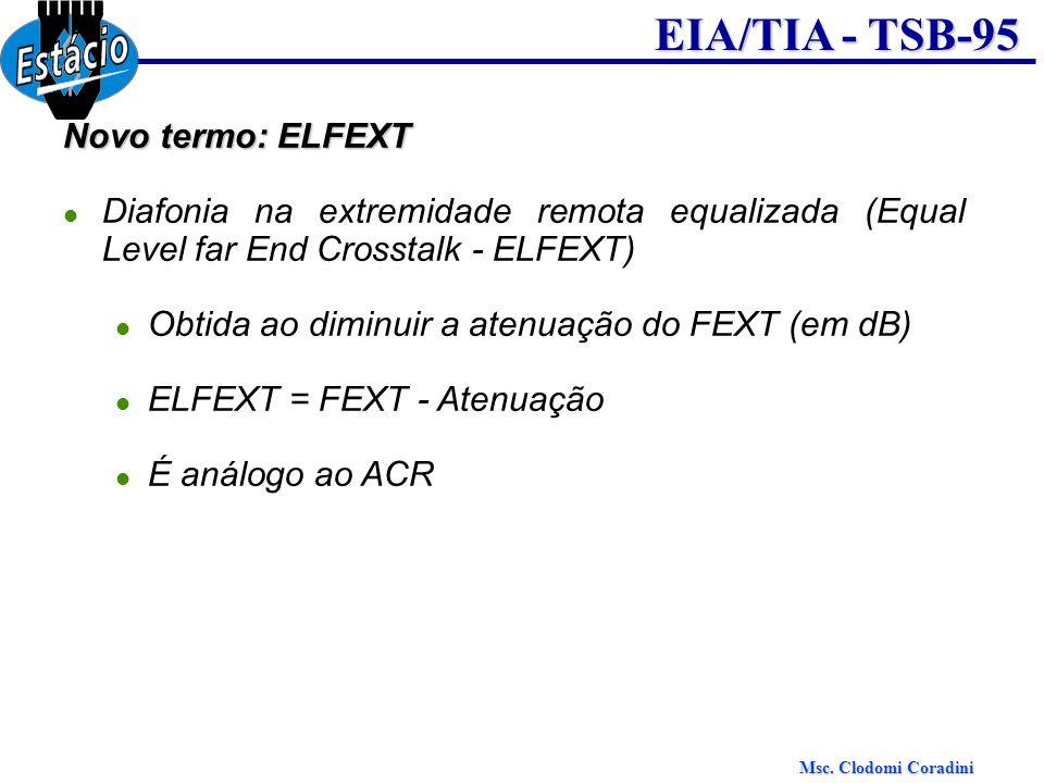 Novo termo: ELFEXT Diafonia na extremidade remota equalizada (Equal Level far End Crosstalk - ELFEXT)