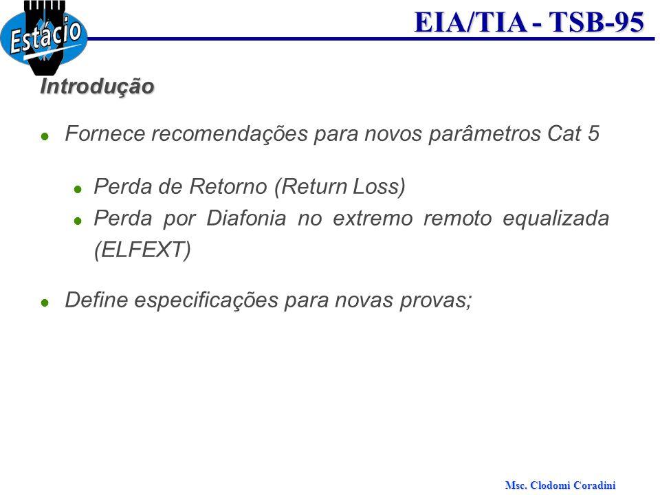 Introdução Fornece recomendações para novos parâmetros Cat 5. Perda de Retorno (Return Loss)