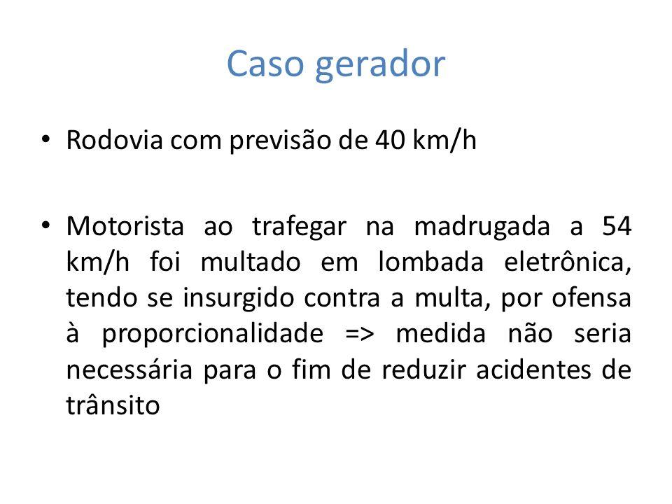 Caso gerador Rodovia com previsão de 40 km/h