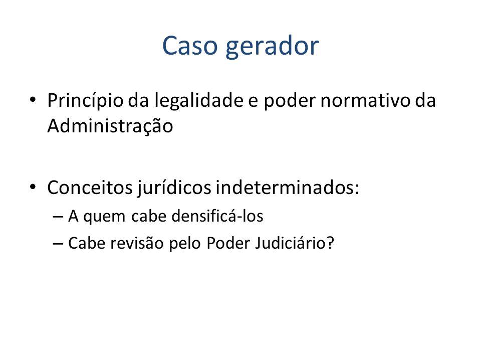 Caso geradorPrincípio da legalidade e poder normativo da Administração. Conceitos jurídicos indeterminados: