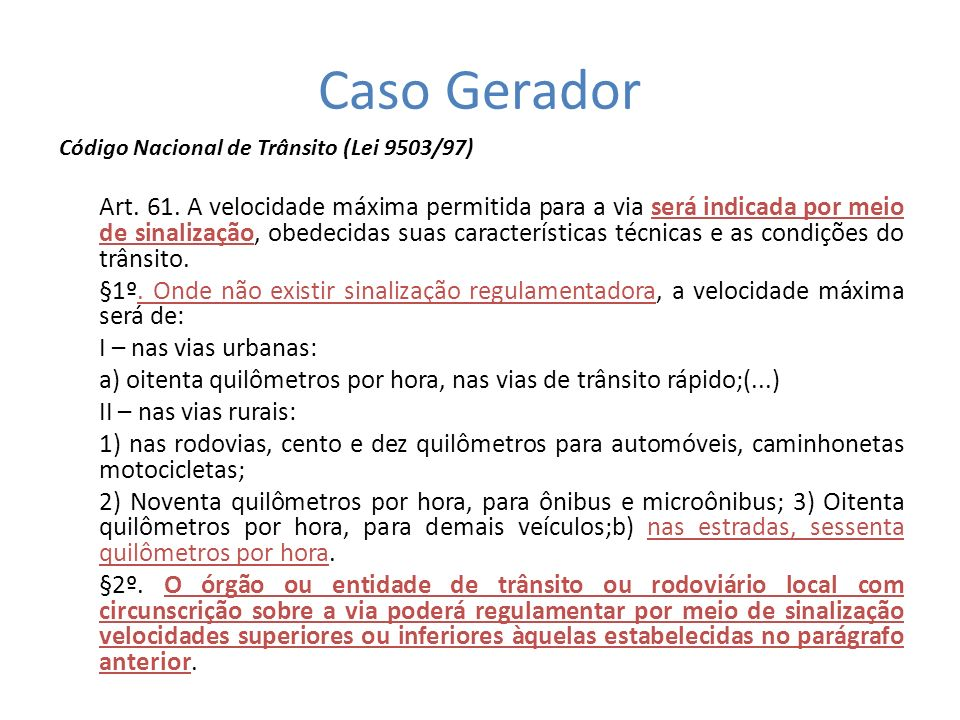 Caso GeradorCódigo Nacional de Trânsito (Lei 9503/97)