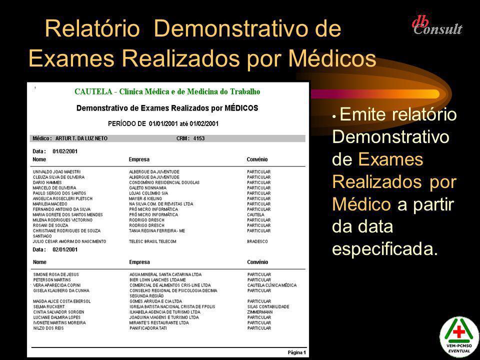 Relatório Demonstrativo de Exames Realizados por Médicos