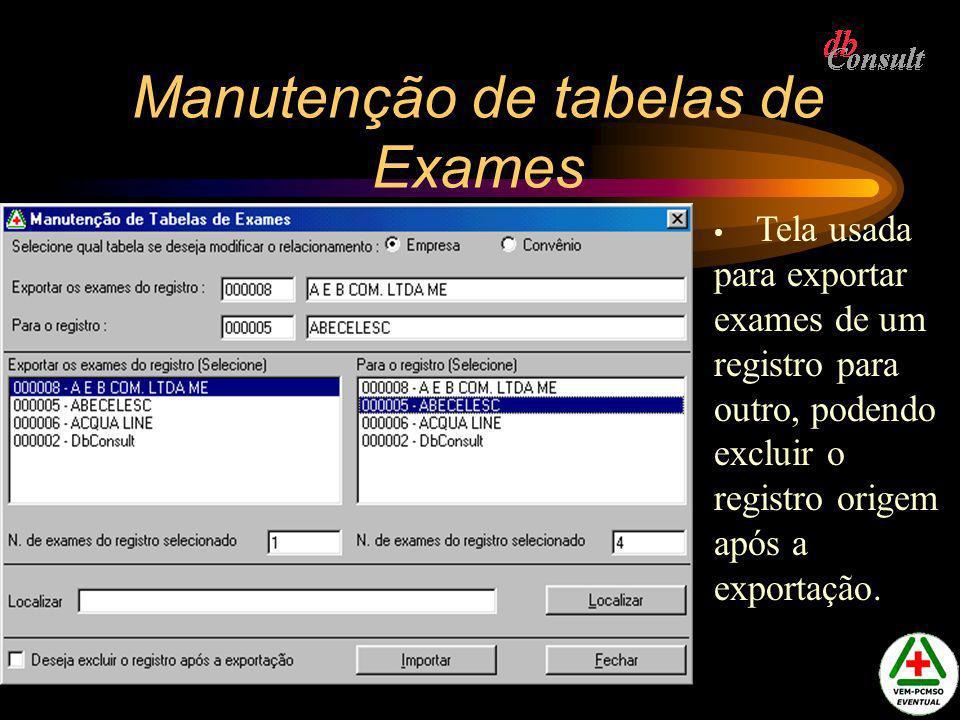 Manutenção de tabelas de Exames