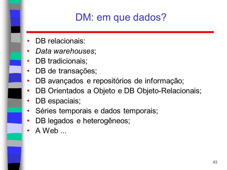 DM: em que dados DB relacionais: Data warehouses; DB tradicionais;