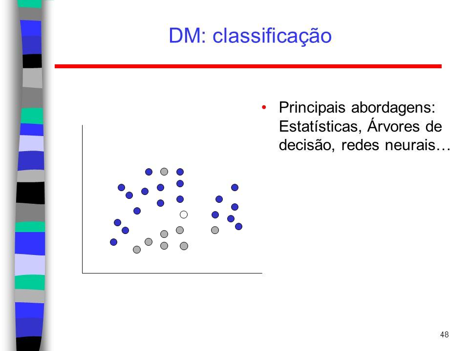 DM: classificação Principais abordagens: Estatísticas, Árvores de decisão, redes neurais…