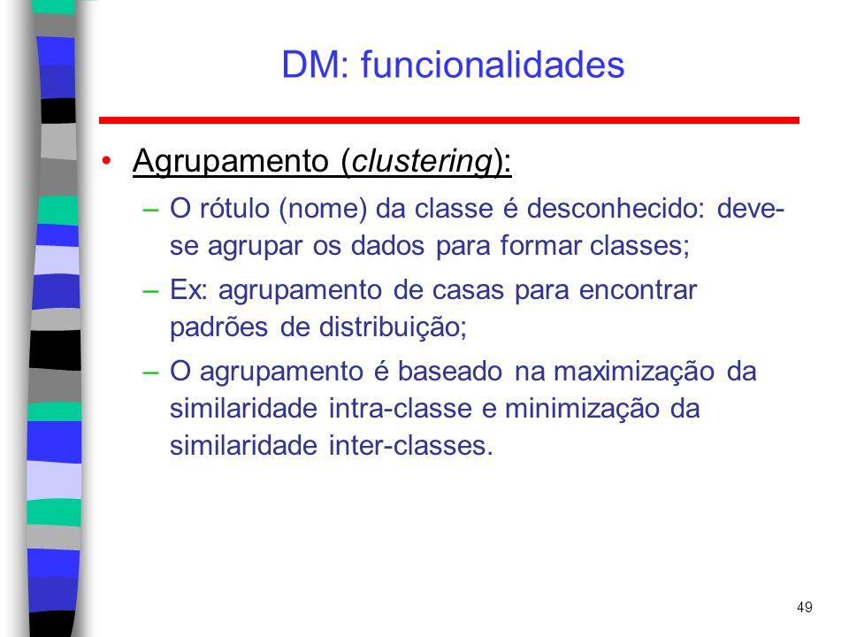 DM: funcionalidades Agrupamento (clustering):