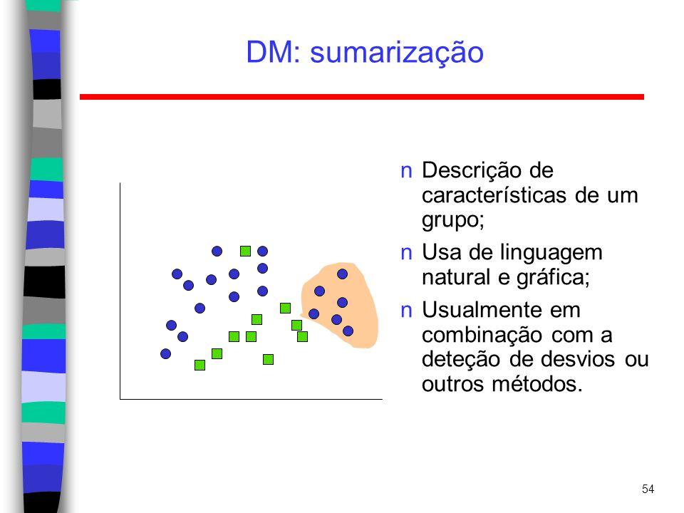 DM: sumarização Descrição de características de um grupo;