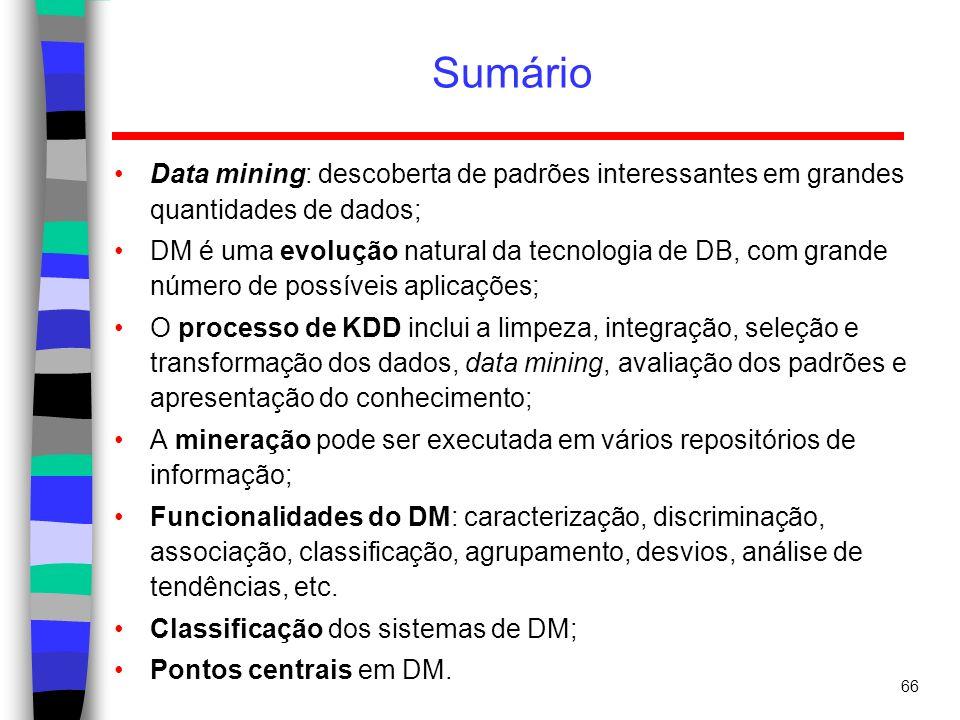 Sumário Data mining: descoberta de padrões interessantes em grandes quantidades de dados;