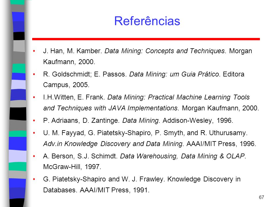 Referências J. Han, M. Kamber. Data Mining: Concepts and Techniques. Morgan Kaufmann, 2000.