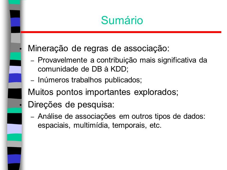 Sumário Mineração de regras de associação: