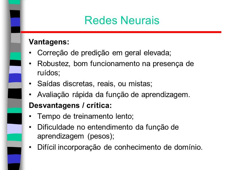 Redes Neurais Vantagens: Correção de predição em geral elevada;