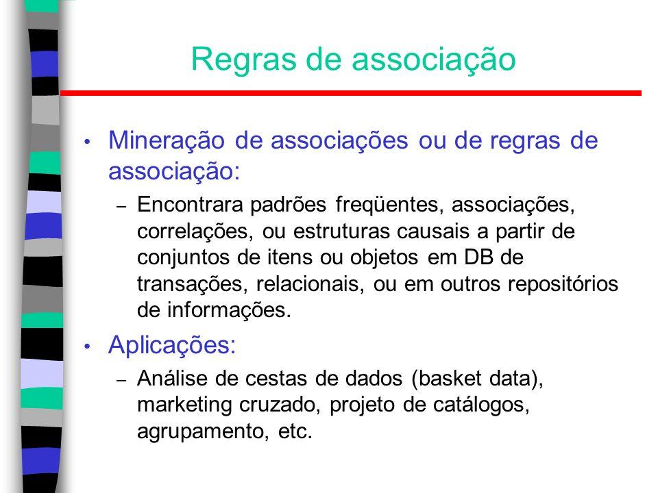 Regras de associação Mineração de associações ou de regras de associação:
