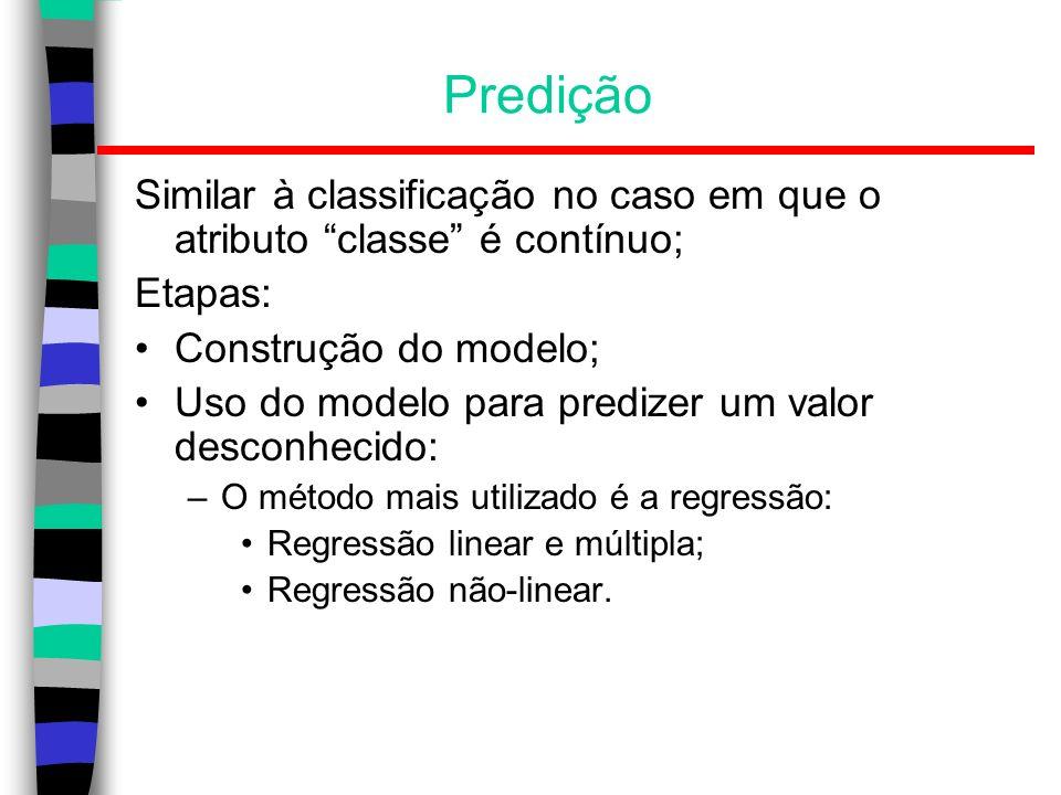 PrediçãoSimilar à classificação no caso em que o atributo classe é contínuo; Etapas: Construção do modelo;