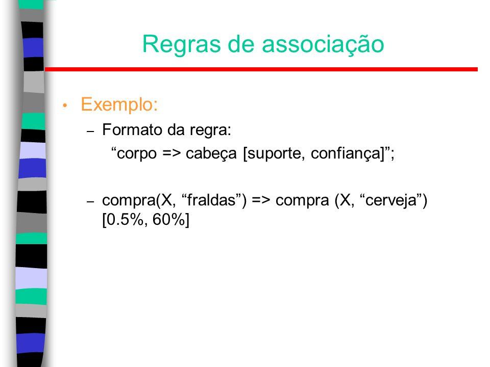 Regras de associação Exemplo: Formato da regra: