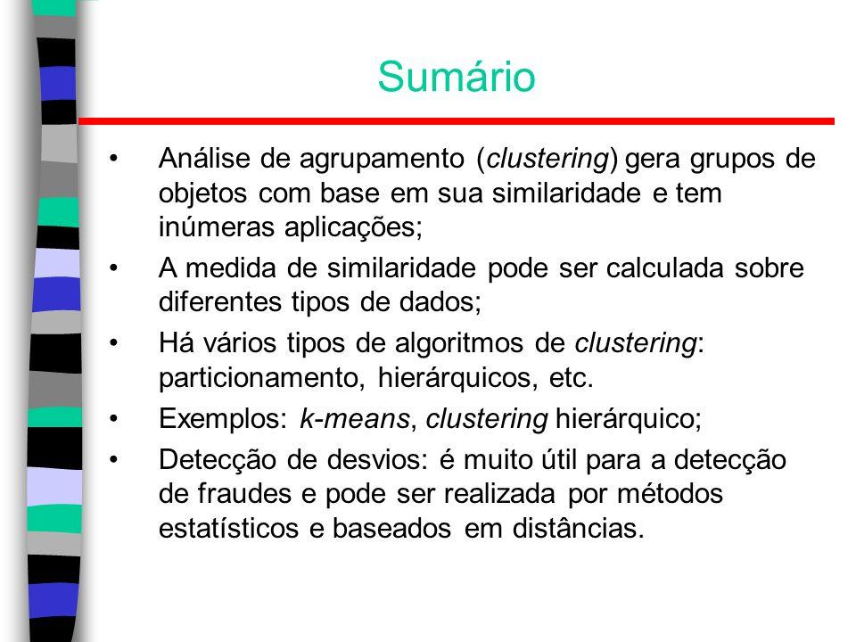 SumárioAnálise de agrupamento (clustering) gera grupos de objetos com base em sua similaridade e tem inúmeras aplicações;