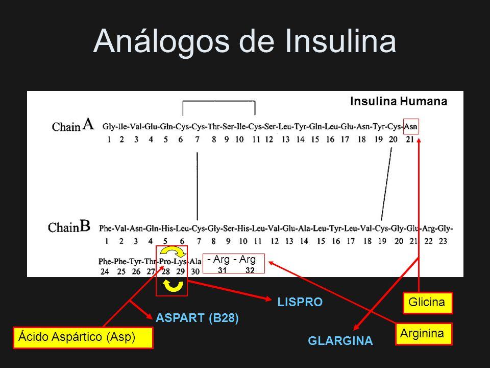 Análogos de Insulina Insulina Humana 31 32 LISPRO Glicina ASPART (B28)