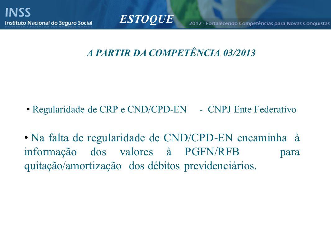 A PARTIR DA COMPETÊNCIA 03/2013