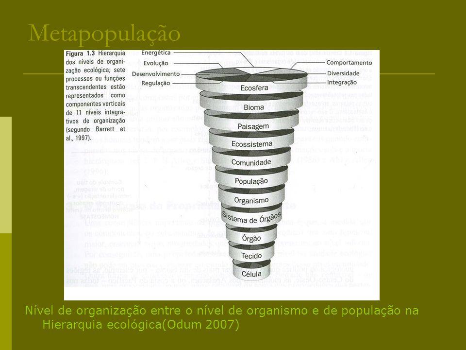 MetapopulaçãoNível de organização entre o nível de organismo e de população na Hierarquia ecológica(Odum 2007)