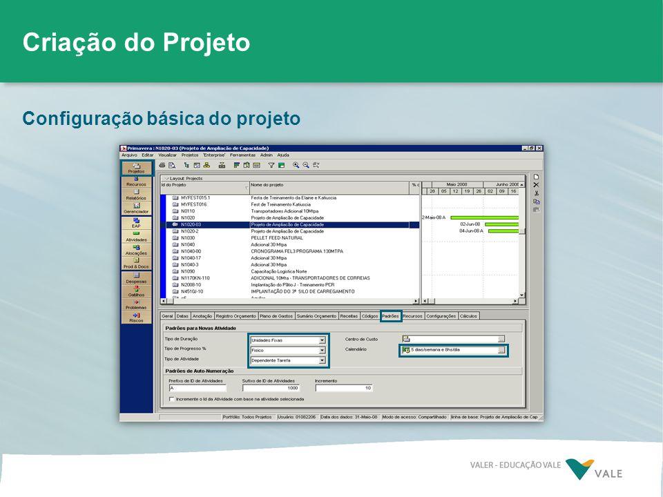 Criação do Projeto Configuração básica do projeto