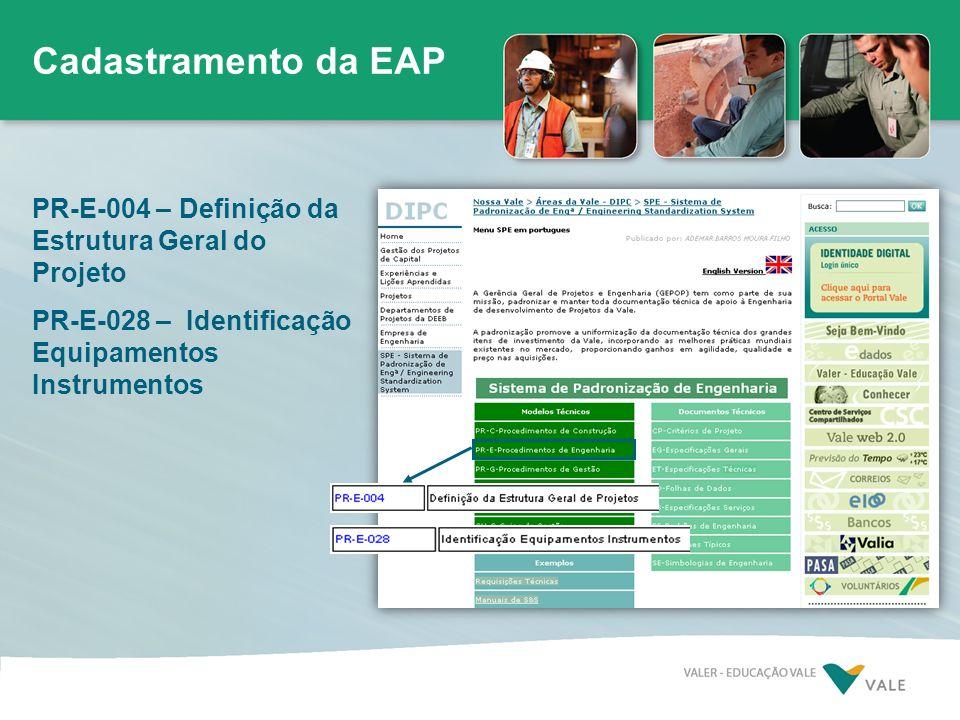 Cadastramento da EAP PR-E-004 – Definição da Estrutura Geral do Projeto.