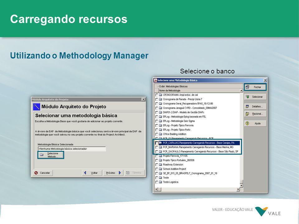 Carregando recursos Utilizando o Methodology Manager Selecione o banco