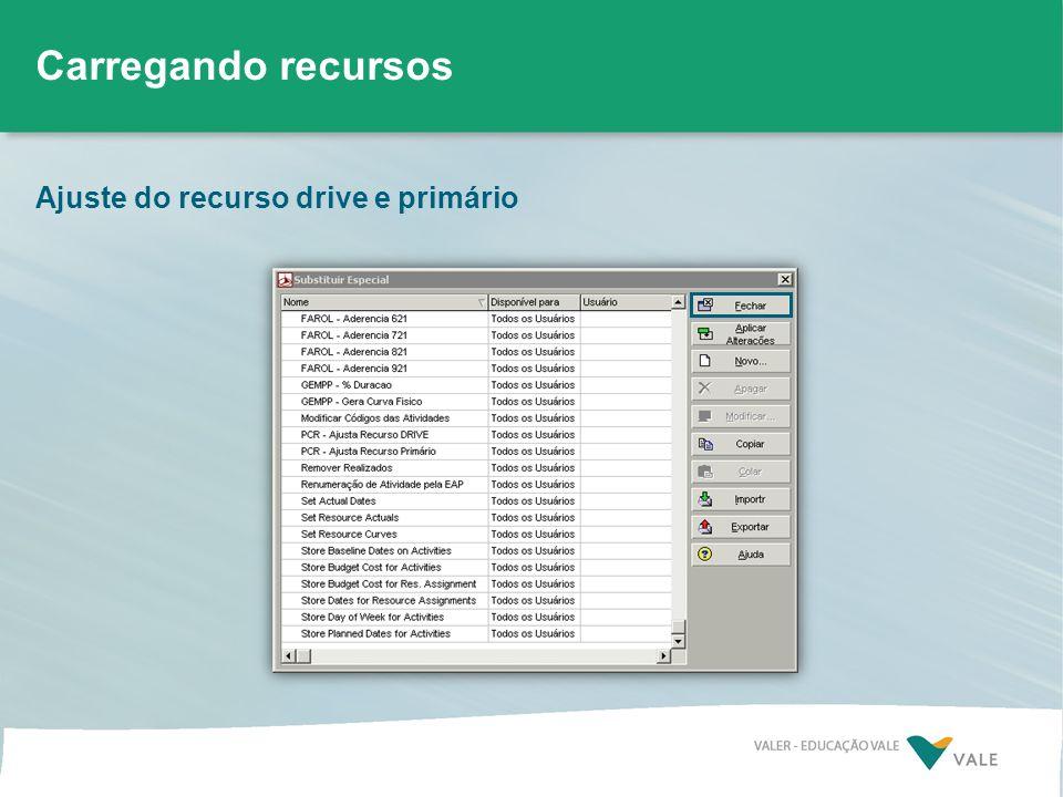 Carregando recursos Ajuste do recurso drive e primário
