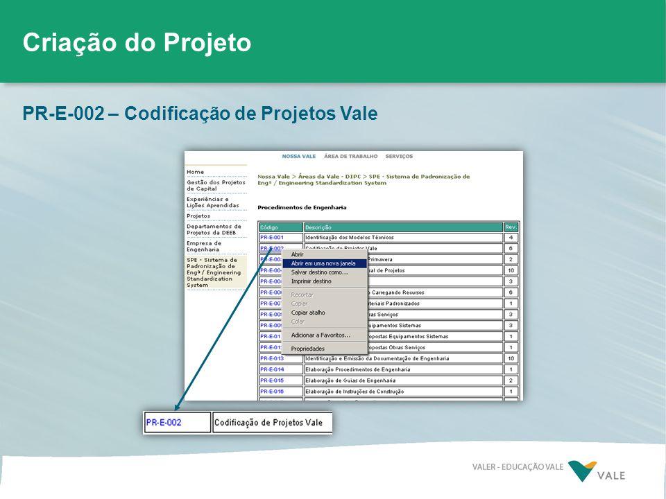 Criação do Projeto PR-E-002 – Codificação de Projetos Vale